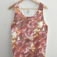 All Over Pepperoni Pizza Print Unisex Tank Top