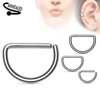 Annealed D Shape 316L Surgical Steel Cut Rings Septum Piercing 16ga Cartilage Earring Helix Daith Body Jewelry