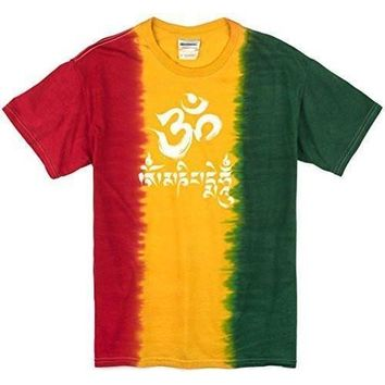 Yoga Clothing for You Mens Om Mani Padme Hum Rasta Tie Dye Tee