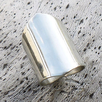 Wide band ring, silver wide ring, armor ring, large ring, statement ring, sterling silver ring, tube ring, boho ring, big ring,