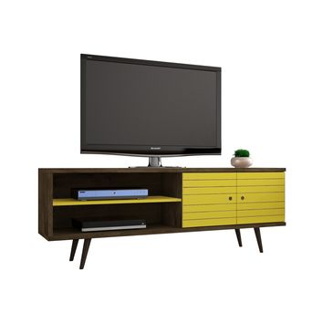 "62.99"" Mid Century - Modern TV Stand w/ 3 Shelves & 2 Doors w/ Solid Wood Legs-Brown, Yellow"