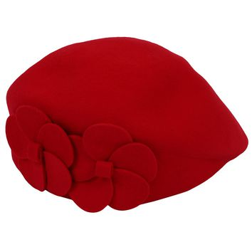 Fashion Women Wool Autumn Winter Lovely Beret 2 Flowers Beret Hat Felt Hat (red)