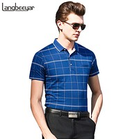 Polo Shirt Men Striped Slim Fit  Men's Polo Shirt Short Sleeve Business Summer Mens Clothing