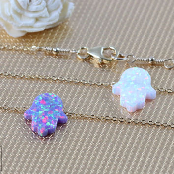Delicate White Opal Hand Necklace-Hand by YouGotCharm on Etsy
