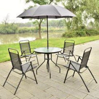 Patio Garden Furniture set with Umbrella 6 pc Backyard Outdoor Table and Chairs