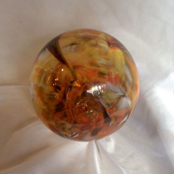 "Blown Glass Garden Gazing Ball / Orb. ""Swirls of Marigold"" Glass Yard Art / Garden Decor. Yellow and Orange Glass Garden Ball."
