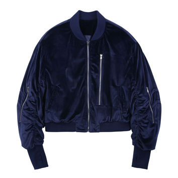 Royal Blue Satin Bomber