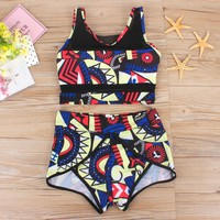 High Waist Bikini Swimsuit Tank Top Swimwear Women High Bathing Suits Print Mesh Swim Suit