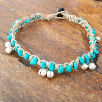 Hemp Anklet, Silver Bell Anklet, Natural Jewelry, Turquoise Howlite, Jewelry, Handmade, Anklet, Bell Anklet, Beach Jewelry, Gift, Gypsy Hemp