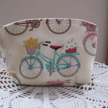 Bridesmaid Wedding Clutch Cosmetic Bag Purse Spring Cruiser Floral Beach Flower Bike Made in USA