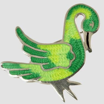 Vintage Sterling Silver Enamel Swan Brooch or Pin - Mexico JF
