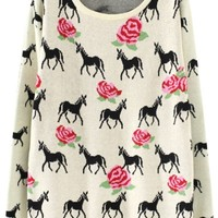 Rose and Deer Silhouette Sweater - OASAP.com