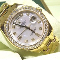 Rolex MASTERPIECE 18948 Mens Yellow Gold Diamond MOP Diamond Dial 39MM