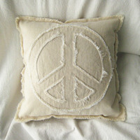 "Peace sign pillow cover in natural and white distressed denim 16"" boho pillow cover"