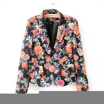 Winter Women's Fashion Print Slim Suits Jacket [6513223303]
