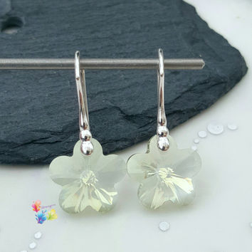 Crystal Flower Earrings, Sterling Silver Earrings, Crystal Jewellery, Gift for Her, Flower, Crystal Earrings, pale green tint, girlfriend