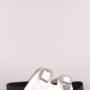 Studded Etched Buckled Double Band Footbed Sandal