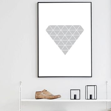 "Scandinavian Art ""GREY GEOMETRIC DIAMOND"" Print, Minimalism Geometric Art, Nordic Design, Poster 50x70 Bridesmaid Gift"