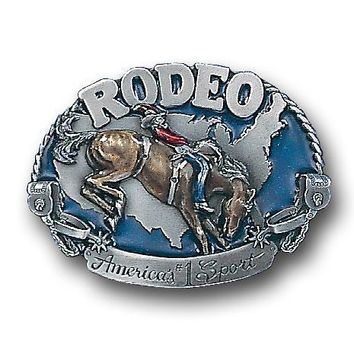 Sports Accessories - Rodeo Horse Rider Enameled Belt Buckle