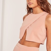 Missguided - Petite Exclusive Nude Wrap Front Crop Top