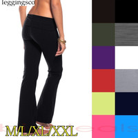 Women's Fold Slimming Foldover Bootleg Flare Spandex Lounge Yoga Pants = 1933178692