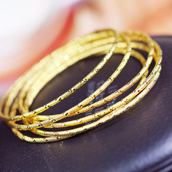 MMS  24k Real Yellow Gold Filled 3 Rounds Set Engraved Textured Thin Bracelets & Bangles Sets for women girls