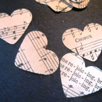 5,000 heart confetti from various vintage sheet musics and hymnals