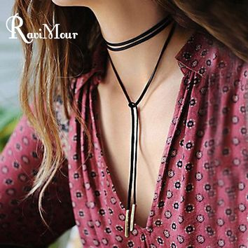 RAVIMOUR Long Black Choker Necklace for Women Fashion Bowknot Velvet Rope Leather Collares Necklaces & Pendants Collier Bijoux