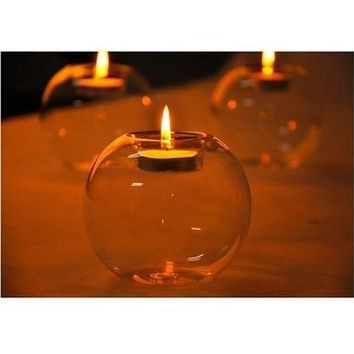 Round Hollow Crystal Glass Candle Holder Wedding Fine Candlestick Dining Room Home Decoration [7982880263]