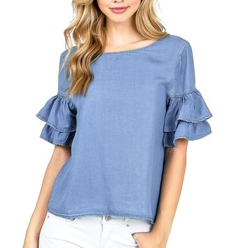 Shaker Ruffle Sleeve Top