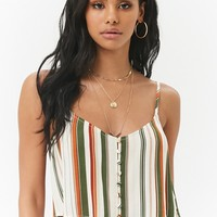 Multicolor Striped Crepe Button-Front Cropped Cami