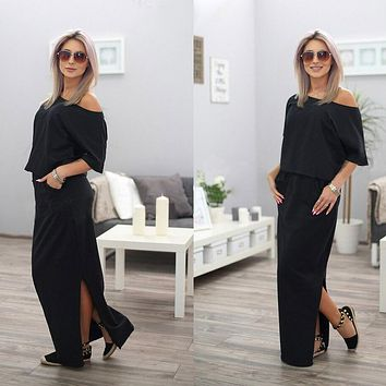 Women Black Sexy Off Shoulder Party Dresses Elegant Bodycon Ankle Dress Womens Sexy Dresses Party Night Club Dress
