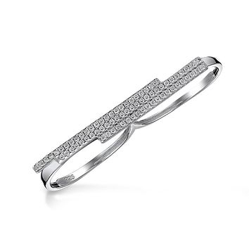 Boho CZ Pave Double Sideway Bar Two Finger Ring 925 Sterling Silver