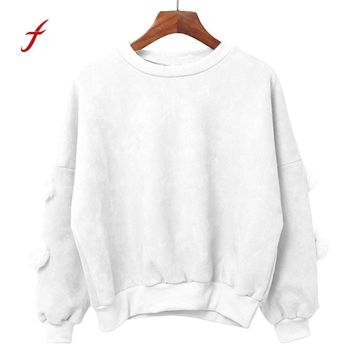 FEITONG Pullover Female Casual Long Sleeve Solid Loose Faux Fur Fashion Cute Blusa Shirt Top New Autumn Winter O-Neck Sweatshirt