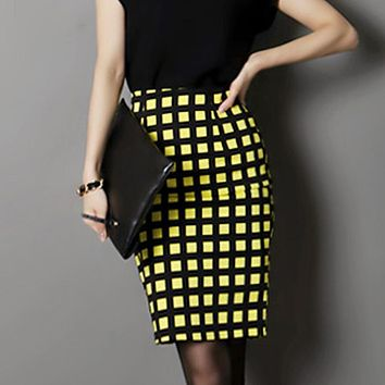 Summer Style 2017 New Fashion Casual Plaid Skirts Womens High Waist Long Pencil Skirt Female Clothing 3XL