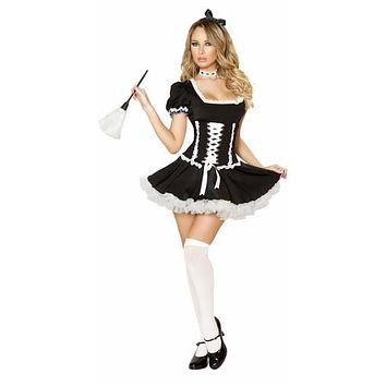 Sexy Lace Up Front French Maid Halloween Costume