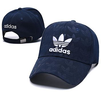 Adidas Trending Couple Embroidery Sports Sun Hat Baseball Cap Hat Navy Blue