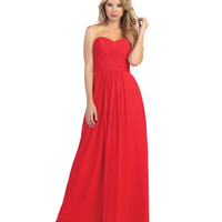 Red Pleated Chiffon Strapless Sweetheart Gown 2015 Prom Dresses