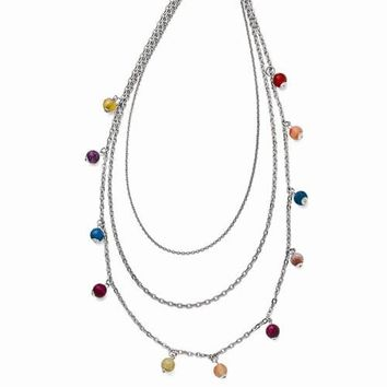 Stainless Steel Polished Multi Colored Agate-Strand Necklace