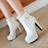 Women Ankle Boots High Heels Boots Platform Shoes womens Fashion Lace Buckle Thin Heel Boots Womens Spring Autumn White Booties