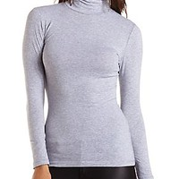 RUCHED TURTLENECK LONG SLEEVE TOP