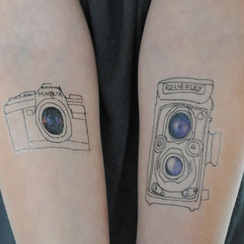 Film Cameras Temporary Tattoo, Modern Illustration, Large Temporary Tattoo, Temporary Tattoo Set, Photography Temporary Tattoo, Modern Art