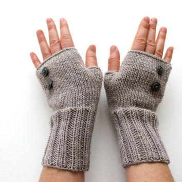 Autumn Trend / Hand Knit Fingerless Gloves / Medium size fits most. / Dark Beige . Brown / Winter Fashion/ Arm Warmes