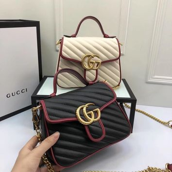 GUCCI Women Shopping Bag Leather Tote Handbag Satchel Bag