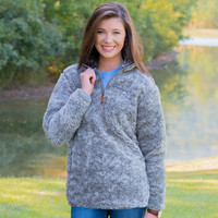 Heathered Quarter Zip Sherpa Pullover in Moon Mist Grey by The Southern Shirt Co.