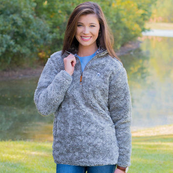 Heathered Quarter Zip Sherpa Pullover in Moon Mist Grey by The Southern Shirt Co. - FINAL SALE