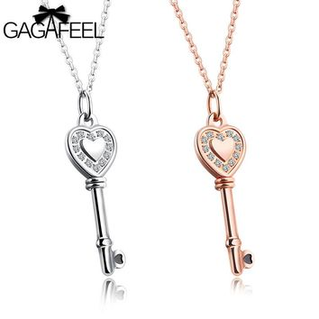 Gagafeel Laser Custom Rngrave DIY Key Pattern Necklace For Woman Jewelry Crystal Zircon Silver Gold Color Pendant Dropshipping