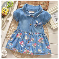 Summer Leisure Style Children Girls Flower Jean Dress Baby Girls Cute Bow Denim Dress Kid Lapel Fashion Dress Outfits
