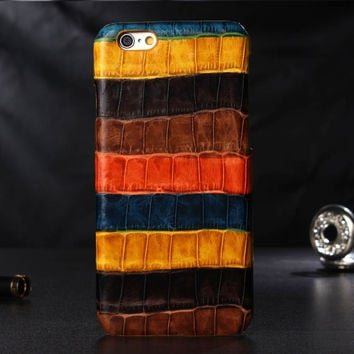 Colored Real Genuine Leather Cover Case For iPhone 6 6S Plus Cell Phone 3D Crocodile Skin Texture Phone Cases With Package