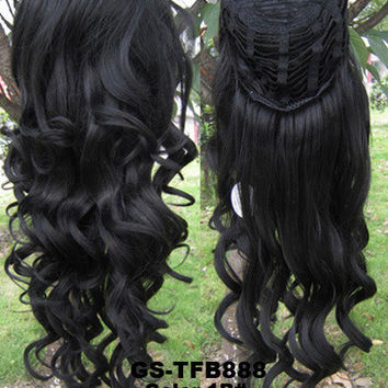 """HOT 3/4 Half Long Curly Wavy Wig Heat Resistant Synthetic Wig Hair 200g 24"""" Highlighted Curly Wig Hairpieces with Comb Wig Hair GS-TFB888 1B#"""